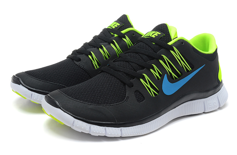 Nike Free 5.0 Running Shoes Black Fluorescent Green