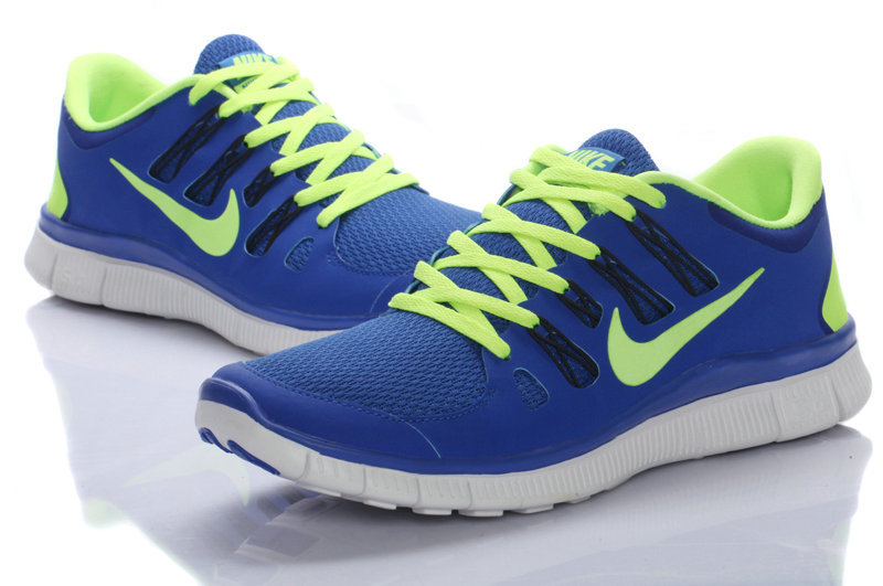 Nike Free Run 5.0 Blue Fluorscent Green Women Running Shoes