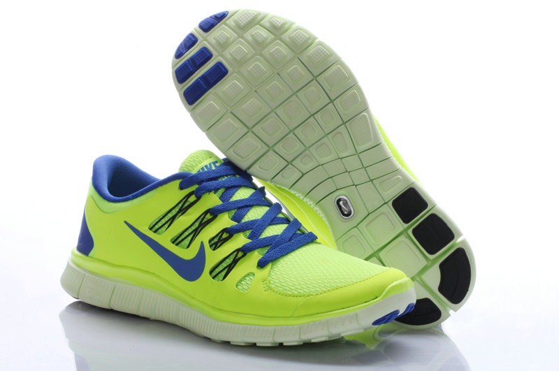 Nike Free Run 5.0 Fluorscent Green Blue Women Running Shoes