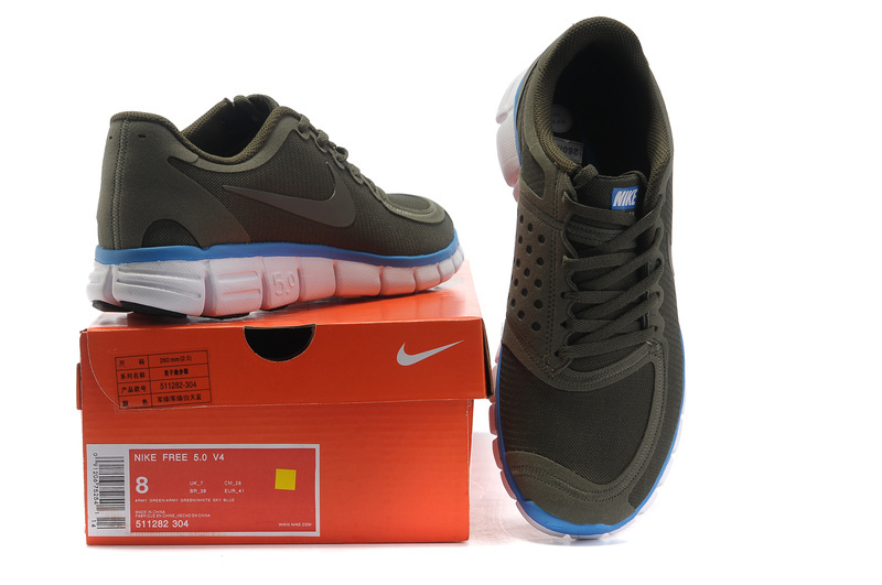 Nike Free 5.0 Running Shoes Grenadine Army Blue White