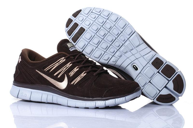 Nike Free Run 5.0 Suede Coffe Gold Running Shoes