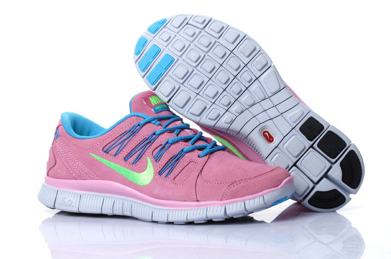Nike Free Run 5.0 Suede Pink Blue Running Shoes