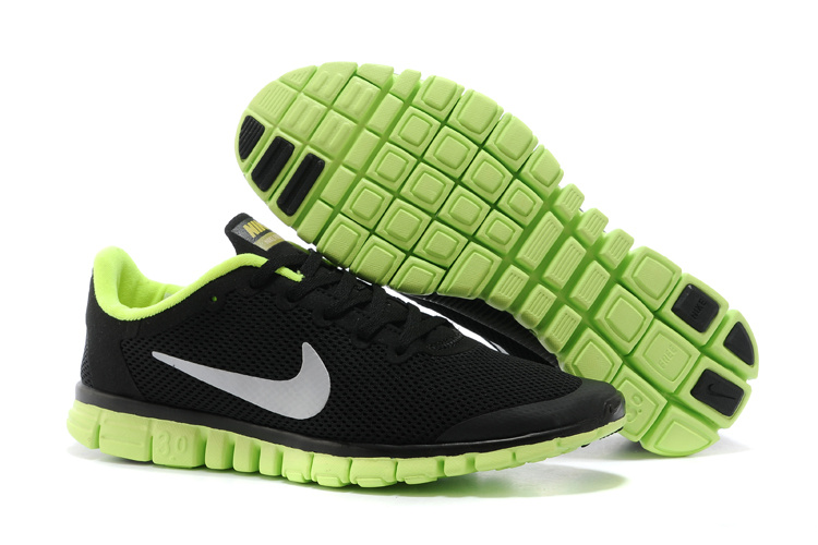 Nike Free Run.3.0 Boutique Black Fluorscent Green Running Footwear