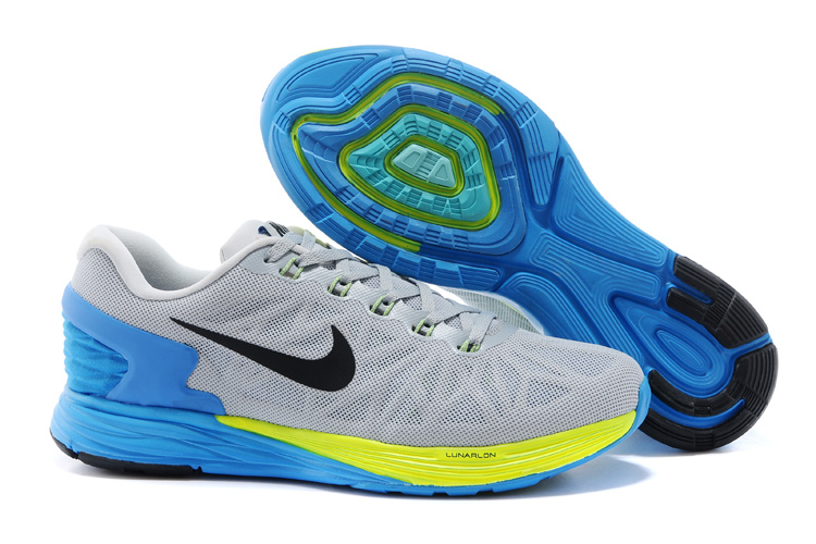 Nike Moofall 6 Grey Blue Yellow Running Shoes