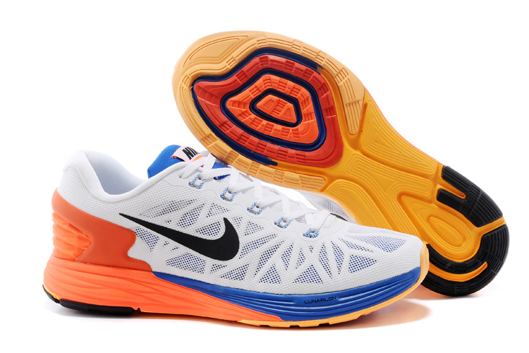 Nike Moofall 6 White Orange Blue Running Shoes