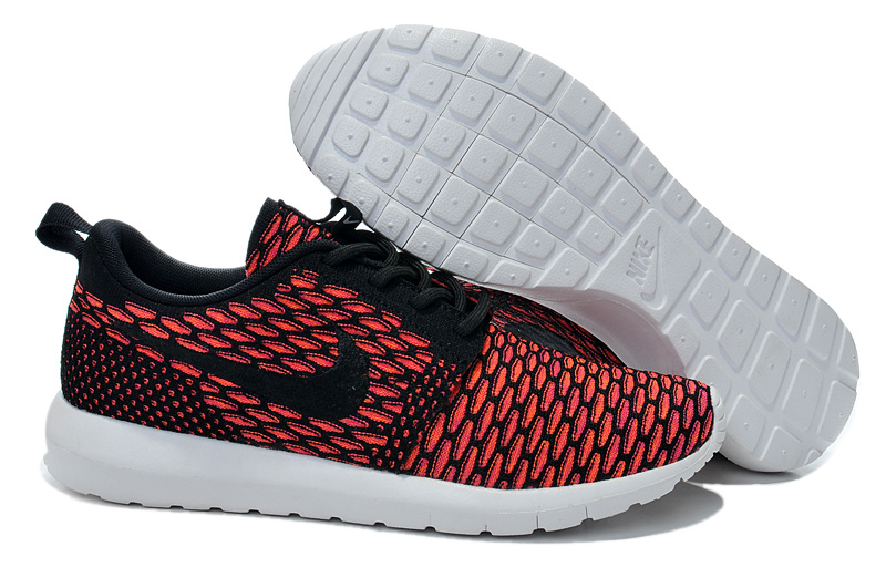 Nike Roshe Flyknit Red Black Swosh Running Shoes
