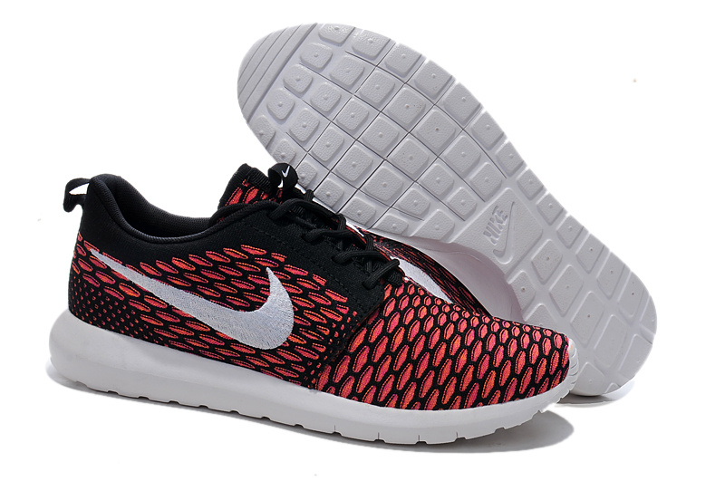 Nike Roshe Flyknit Red Black Running Shoes