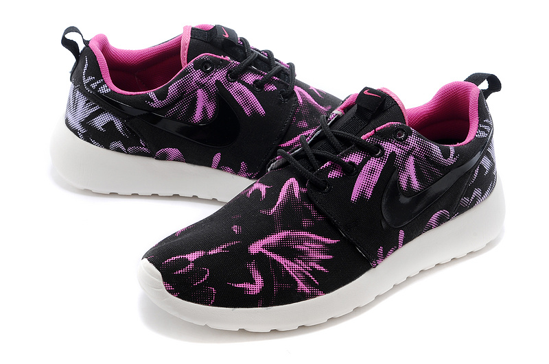 Nike Roshe Run 3M Black Purple White Shoes For Women