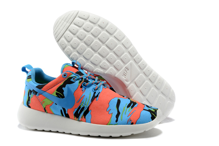 Nike Roshe Run 3M Blue Red White Women Shoes