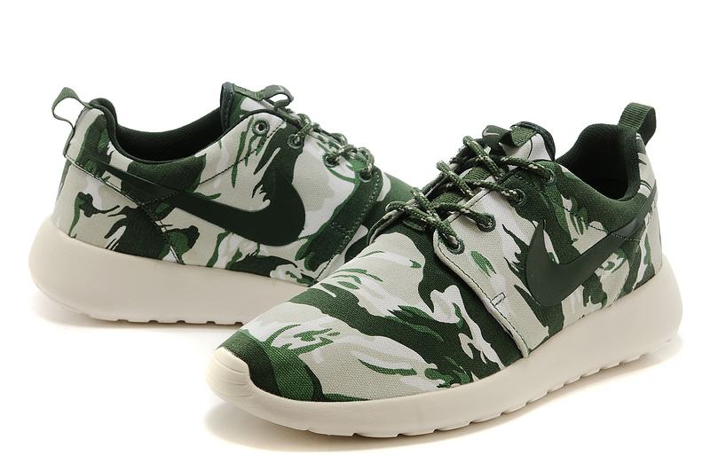 Nike Roshe Run 3M Camou Green Grey White Women Shoes