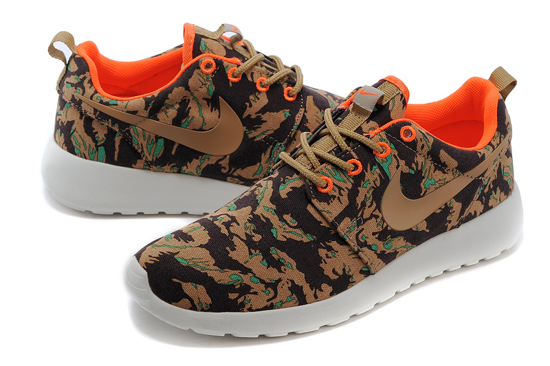 Nike Roshe Run 3M Coffe Black Orange White Women Shoes