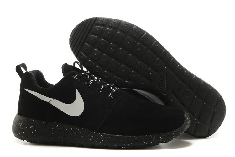 Nike Roshe Run All Black White Swoosh Shoes