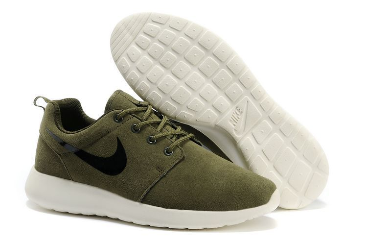 Nike Roshe Run Army Green White Black Swoosh Shoes