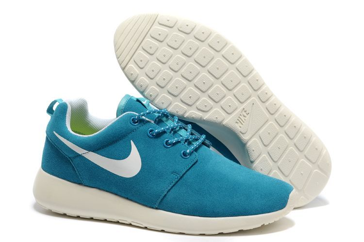 Nike Roshe Run Baby Blue White Swoosh Shoes