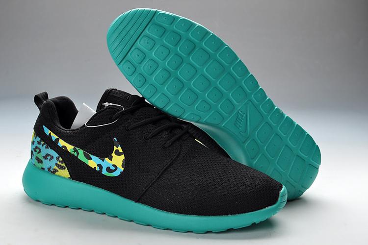 New Nike Roshe Run Black Green For Women