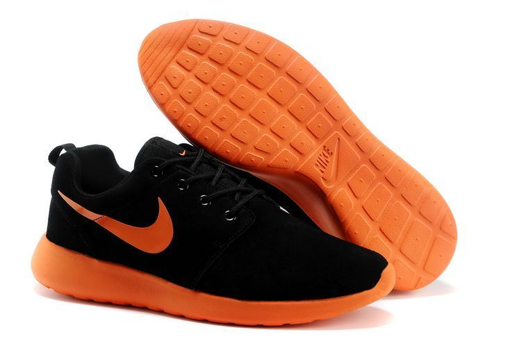 Nike Roshe Run Black Orange Swoosh Shoes