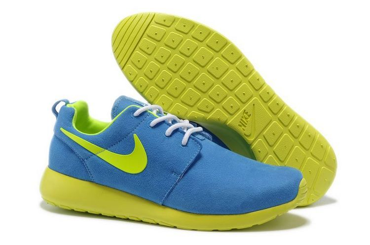 Nike Roshe Run Blue Fluorescent Green Swoosh Shoes