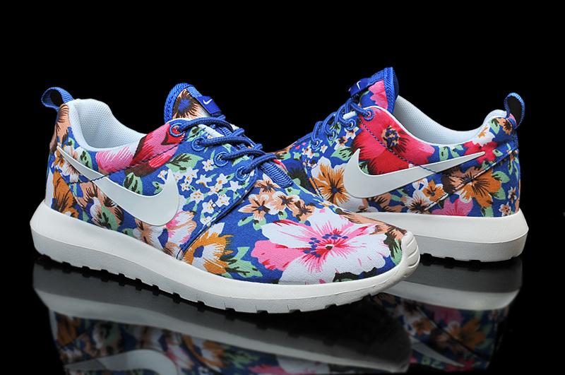 Nike Roshe Run Follower Print White Blue Red Shoes For Women
