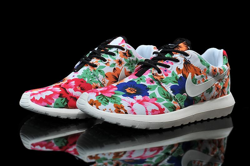 Nike Roshe Run Follower Print White Red Green Blue Shoes For Women