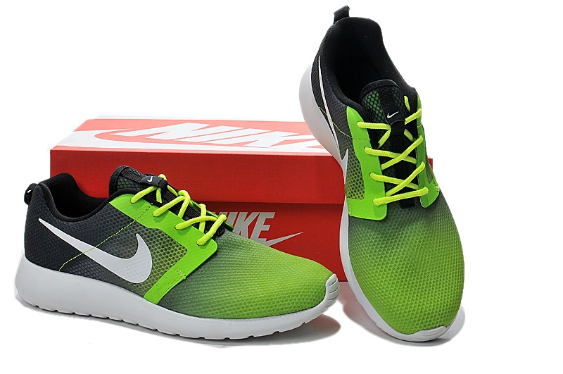 Nike Roshe Run Gradual Green Black White Women Shoes