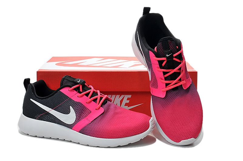 Nike Roshe Run Gradual Pink Black White Women Shoes