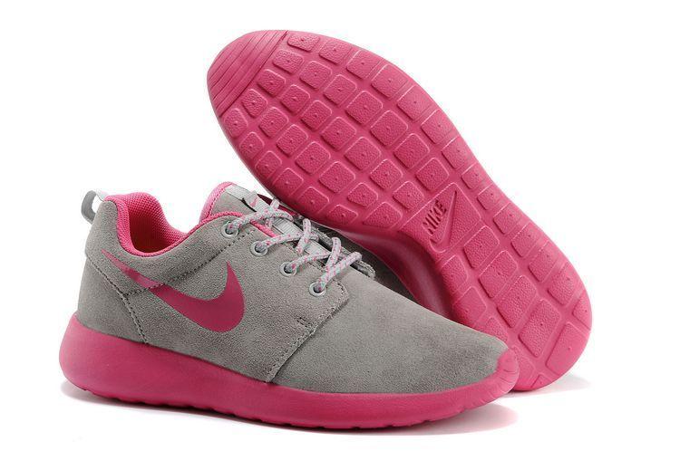 Nike Roshe Run Grey Pink Swoosh Shoes