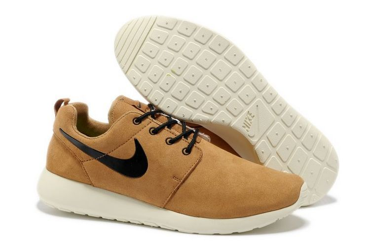 Nike Roshe Run Light Brown White Black Swoosh Shoes