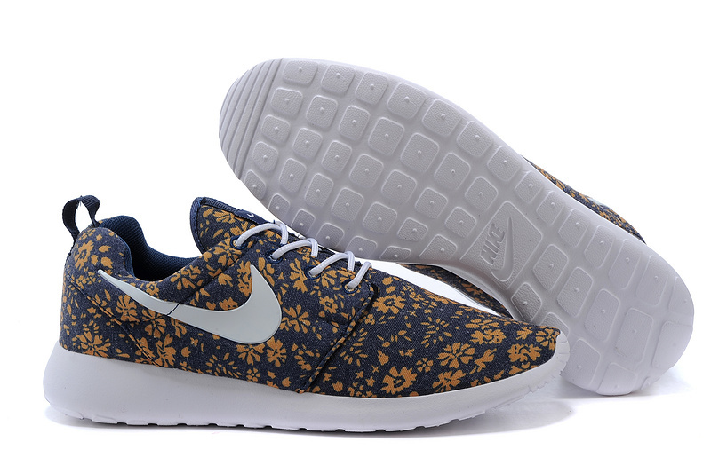Nike Roshe Run Mesh Printing Coffe Blue White Women Shoes