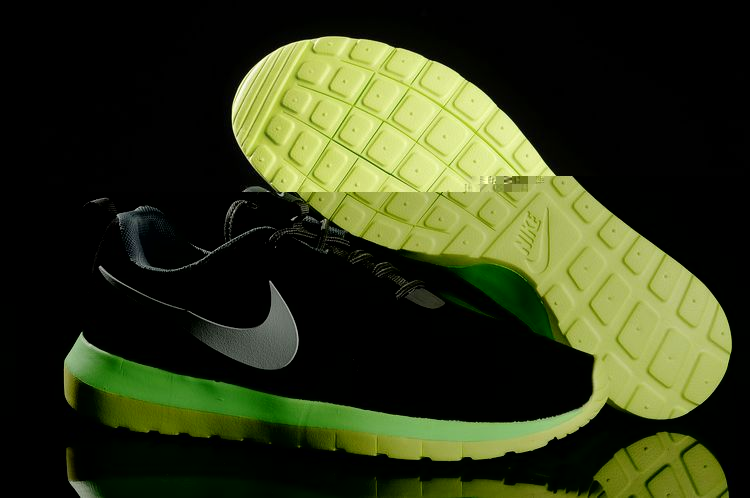 Nike Roshe Run NM 3M Midnight Black Fluorscent Green Shoes