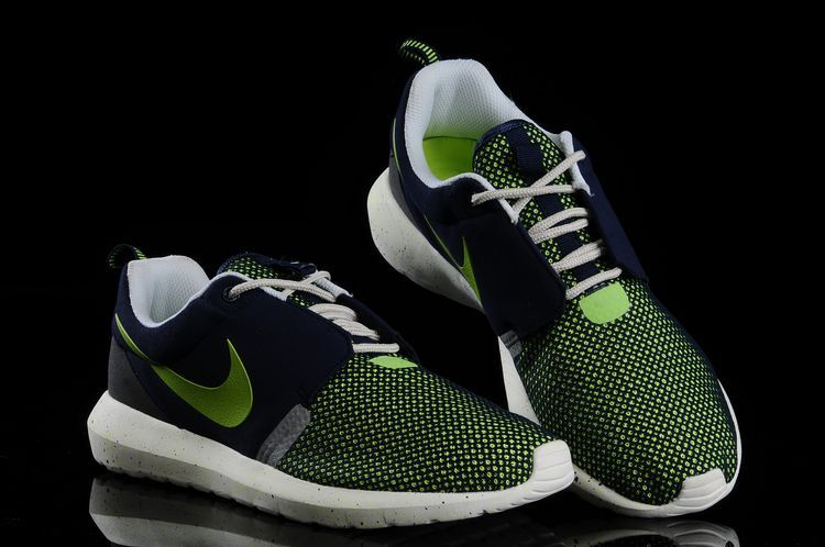 Nike Roshe Run NM BR 3M Dark Blue Fluorescent Green White Shoes