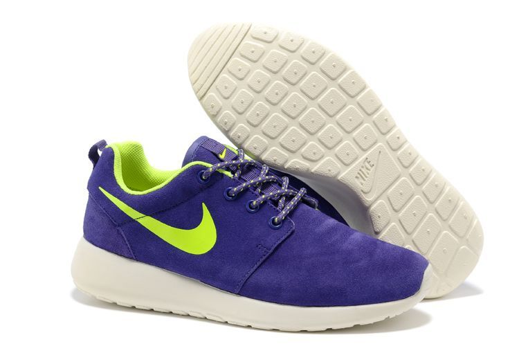 Nike Roshe Run Purple White Green Swoosh Shoes