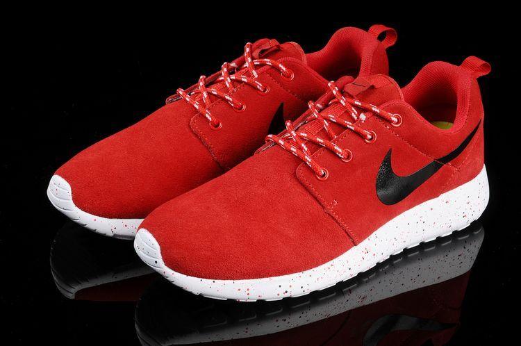 Nike Roshe Run Red White Black Swoosh Shoes
