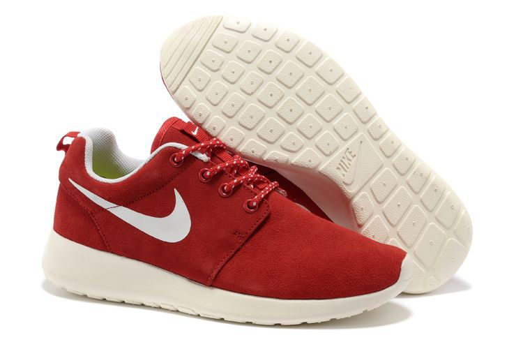 Nike Roshe Run Red White Swoosh Shoes