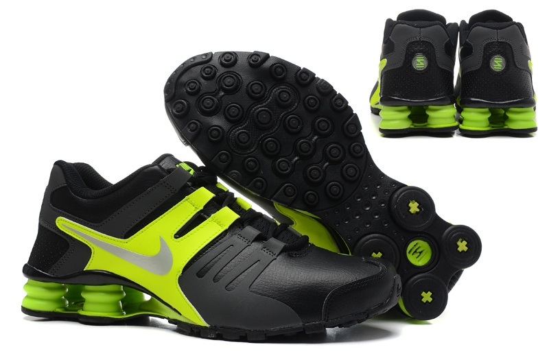 Nike Shox Current Shoes Black Green Silver