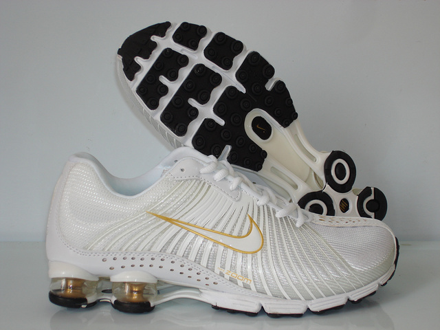 Functional Nike Shox R1 All White Gold Shoes