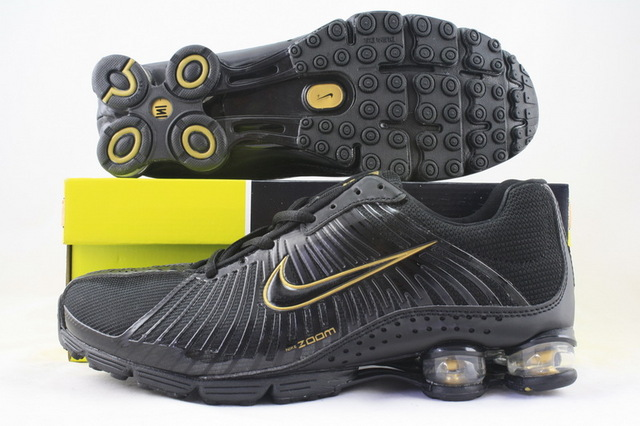 Functional Nike Shox R1 Black Gold Shoes