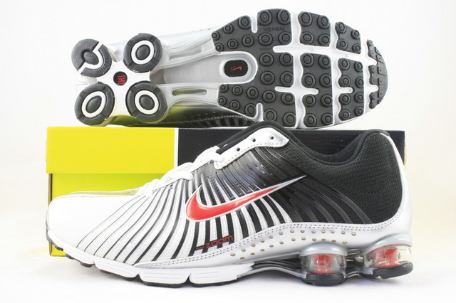Functional Nike Shox R1 White Black Red Shoes