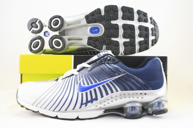 Functional Nike Shox R1 White Blue Logo Shoes