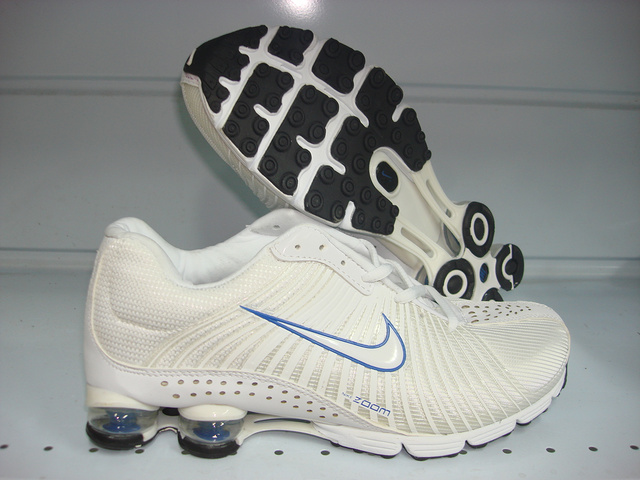Functional Nike Shox R1 White Blue Shoes