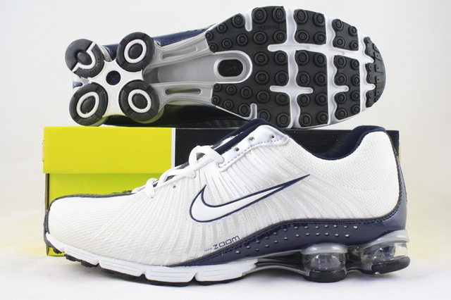 Functional Nike Shox R1 White Deep Blue Shoes