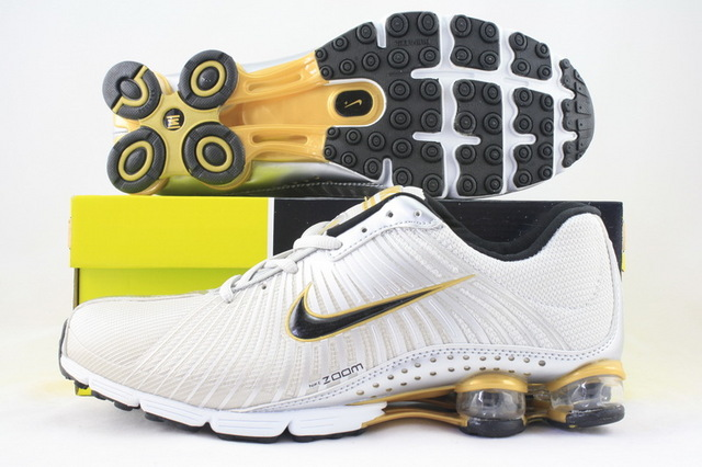 Nike Shox R1 White Gold Black Running Shoes