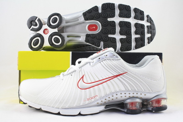 Nike Shox R1 White Red Logo Running Shoes
