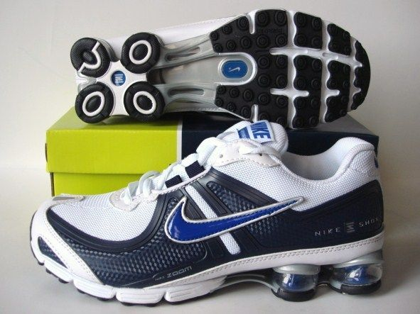 Nike Shox R2 White Deep Blue Running Shoes