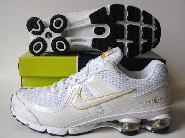 Nike Shox R2 White Gold Running Shoes