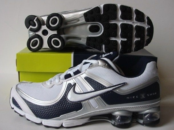 Stylish Shox R2 White Silver Black Shoes
