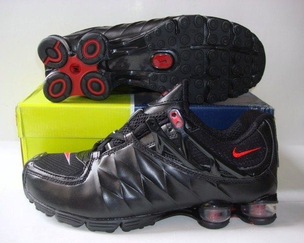 Stylish Shox R3 All Black Red Logo Shoes