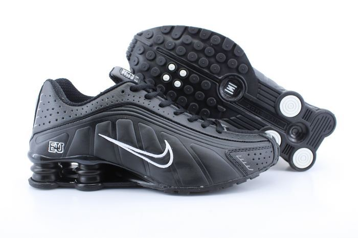 Real Shox R4 Shoes All Black White Swoosh