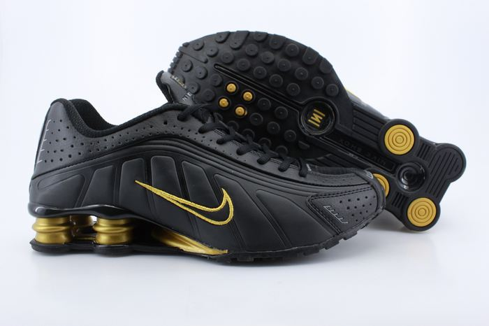 Real Shox R4 Shoes Black Gold Air Cushion