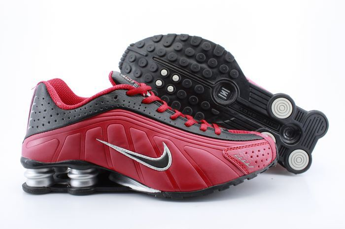 Real Shox R4 Shoes Black Red Black Swoosh