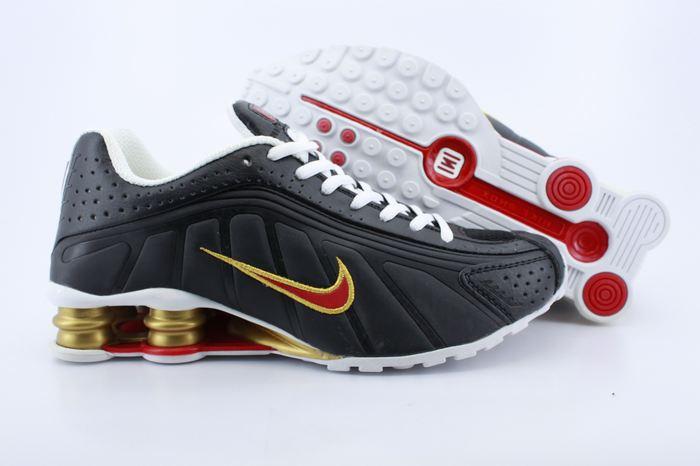 Real Shox R4 Shoes Black Red Gold Air Cushion